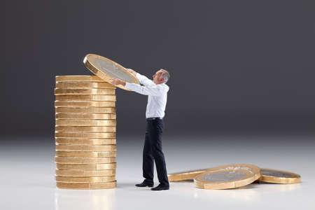 Senior man saving money