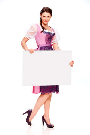 dirndl dress: Young woman with dirndl dress and board