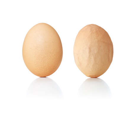 on smooth: Concept eggs smooth and wrinkled