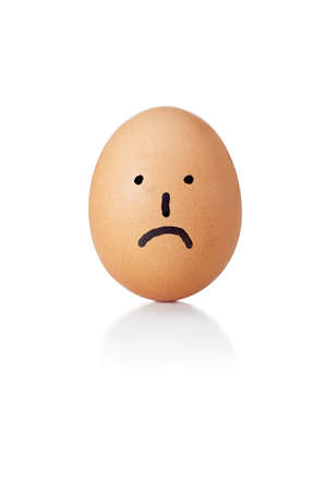 countenance: Egg with Painted emoticon sad Stock Photo