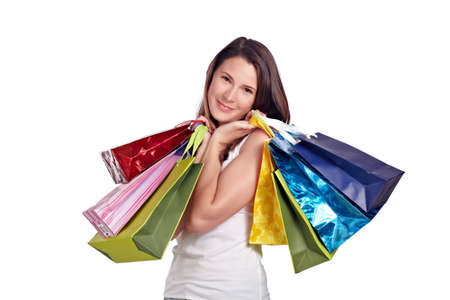 after shopping: Young beauty after shopping