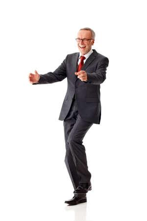 Dancing senior business man isolated Reklamní fotografie