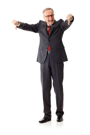 contend: Mature business man thumbs down Stock Photo