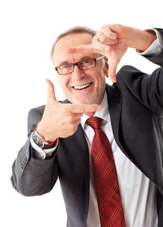 foresight: Mature business man with positive vision field Stock Photo