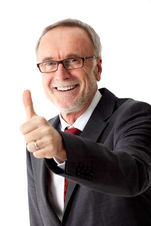 contend: Mature business man thumb up