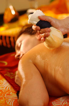 body oil: Massage Pantai Luar 2 Stock Photo