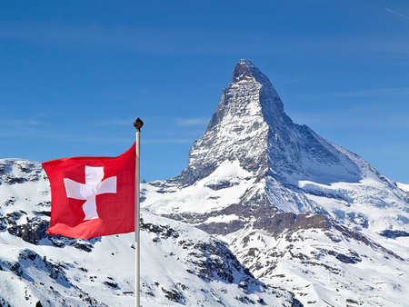 Matterhorn with Flag of Switzerland