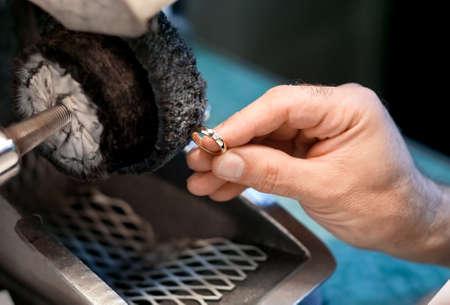 Hand polishing is a wedding ring