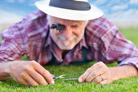 Zblízka senior zahradník sekání trávy