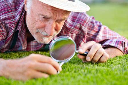 Close up of senior gardener cutting grass