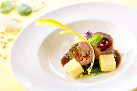 gastronomy: Beef roulade on a white plate Stock Photo