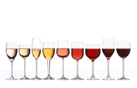 wine tasting: Wine color gradient Stock Photo
