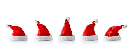 Collection of five santa hats