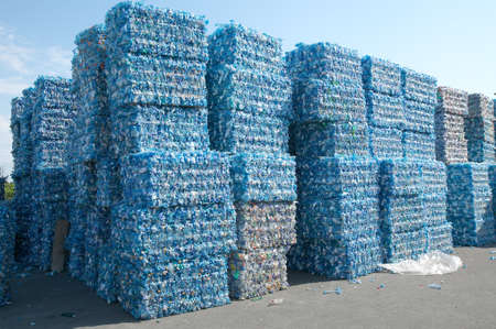 plastic waste: Plastic bottles pressed and packed for recycling