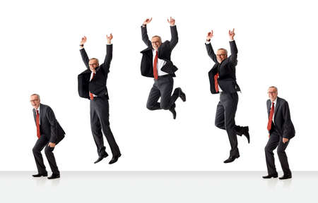 Sequence of jumping senior business man, isolated