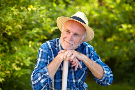 to think about: Senior man in garden take a break and think about. Stock Photo