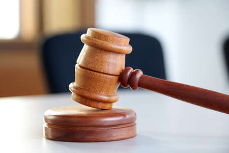 court judgment: Close up of judge gavel