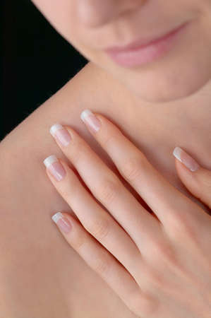finger nails: Young beauty with polished artificial finger nails