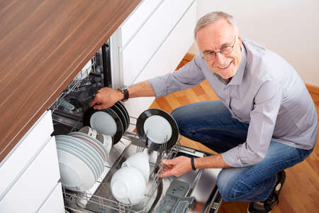 houseman: Senior man in the kitchen, empty out the dishwasher