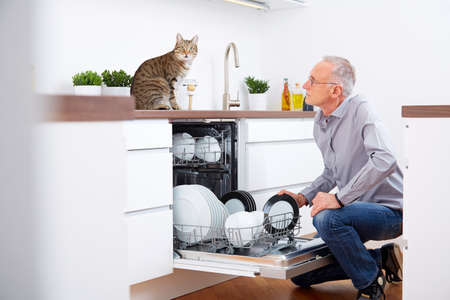 bright housekeeping: Senior man with cat in the kitchen, empty out the dishwasher