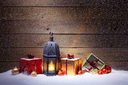 snowfalls: Christmas decoration with snowfall and blue background