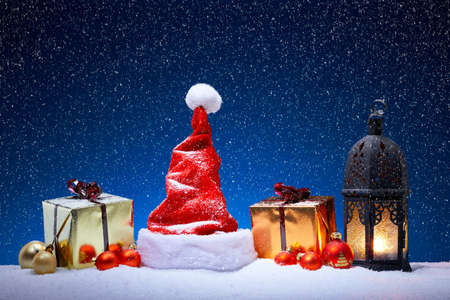 snowfall: Christmas decoration with snowfall and blue background