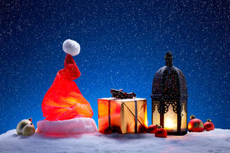 writable: Christmas decoration with snowfall and blue background