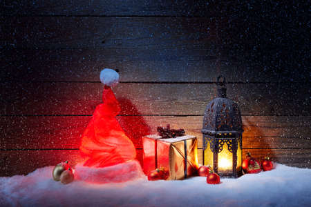 winterly: Christmas decoration with snowfall and blue background