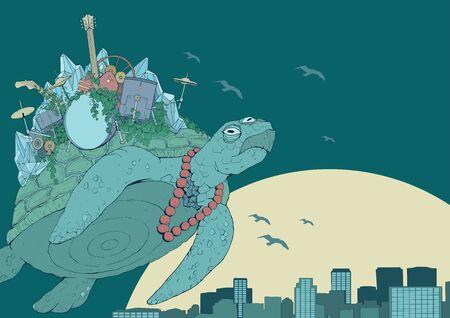 Three-eyed rock band turtle digital art flying over city sunset