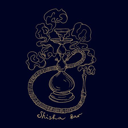 Isolated hand drawn vector hookah sketch on dark blue background with gold for lounge menu or poster