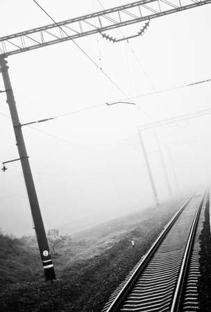 shifted: Railway rails in the fog  Stock Photo