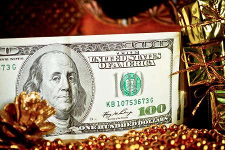 Money gift for Christmas  Five hundred dollar bills for a gift photo