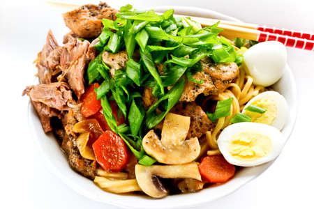 Japanese dish with noodles, meat and vegetables  photo