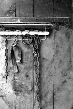 The chains symbolize the shackles that deny freedom of choice  Broken tie-up means courage and determination  Black-and-white