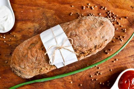 Buckwheat bread with ketchup and mayonnaise  photo