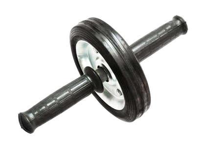 training wheels: Gymnastic wheel for abdominal exercise on a white background. Stock Photo