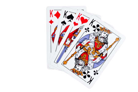 4 of a kind: Four playing cards on a white background. Games of chance