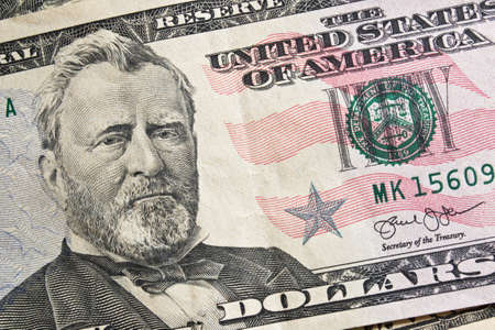 fifty dollar bill: Fifty dollar with president Grant portrait for money background