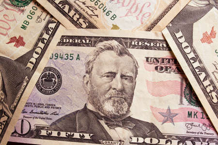 50 dollar bill: Background with American money Stock Photo