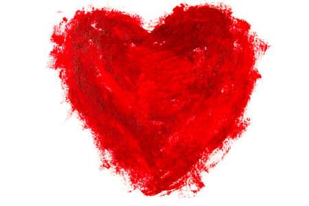 Rode hartvorm die op witte achtergrond wordt geïsoleerd Stockfoto