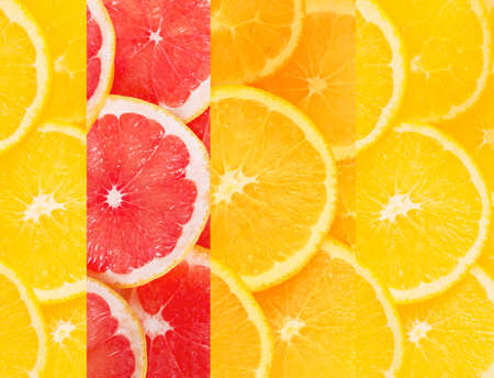 healthful: Beautiful collage of healthy citrus fruits Stock Photo