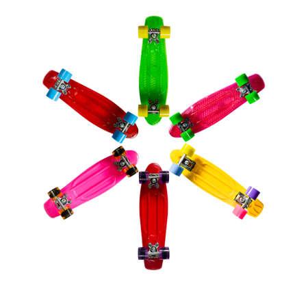 Mini skateboards on white