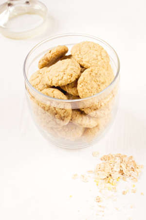 glass jar: Homemade oatmeal cookies in a glass jar