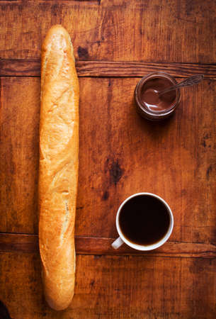 ganache: Breakfast with French baguette, coffee and chocolate ganache