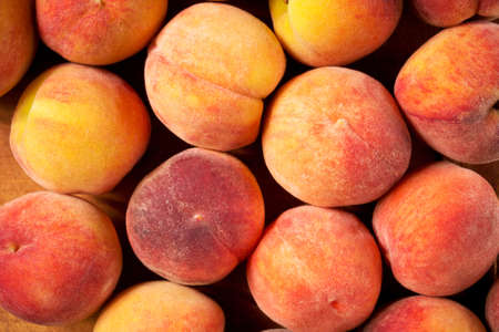 velvety: Fresh ripe peaches background, close-up Stock Photo