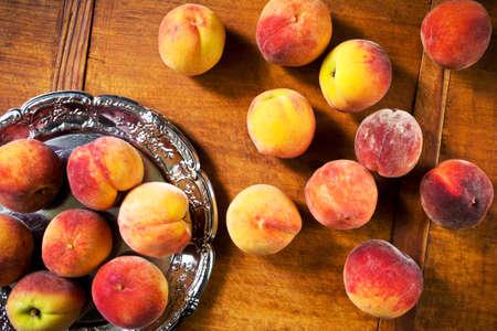 velvety: Sweet ripe peaches Stock Photo
