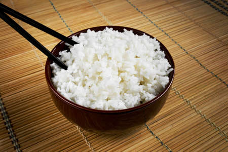 composition: Composition with rice and chopsticks Stock Photo