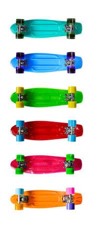 Set of colorful skateboards isolated on white background