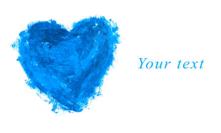 Blue heart shape isolated on white with copy space Фото со стока