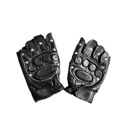 Black leather sport gloves isolated on white background Фото со стока